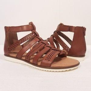 Clarks Kele Lotus Leather Gladiator Sandals